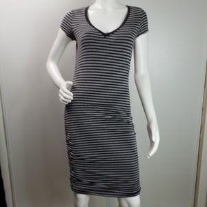 Athleta bodycon stretch striped vneck dress sz XS